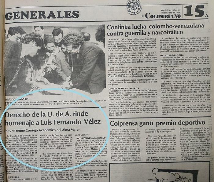 Fotografía tomada de la edición del 4 de febrero de 1988 del periódico El Colombiano.
