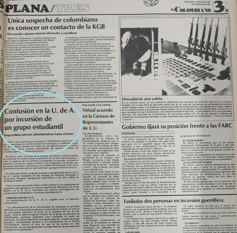 Fotografía tomada de la edición del 30 de marzo de 1988 del periódico El Colombiano.