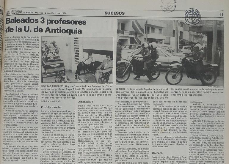Fotografía tomada de la edición del 12 de abril de 1988 del periódico El Mundo.