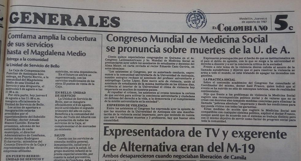 Fotografías tomadas de la edición del  6 de agosto de 1987 del periódico El Colombiano.