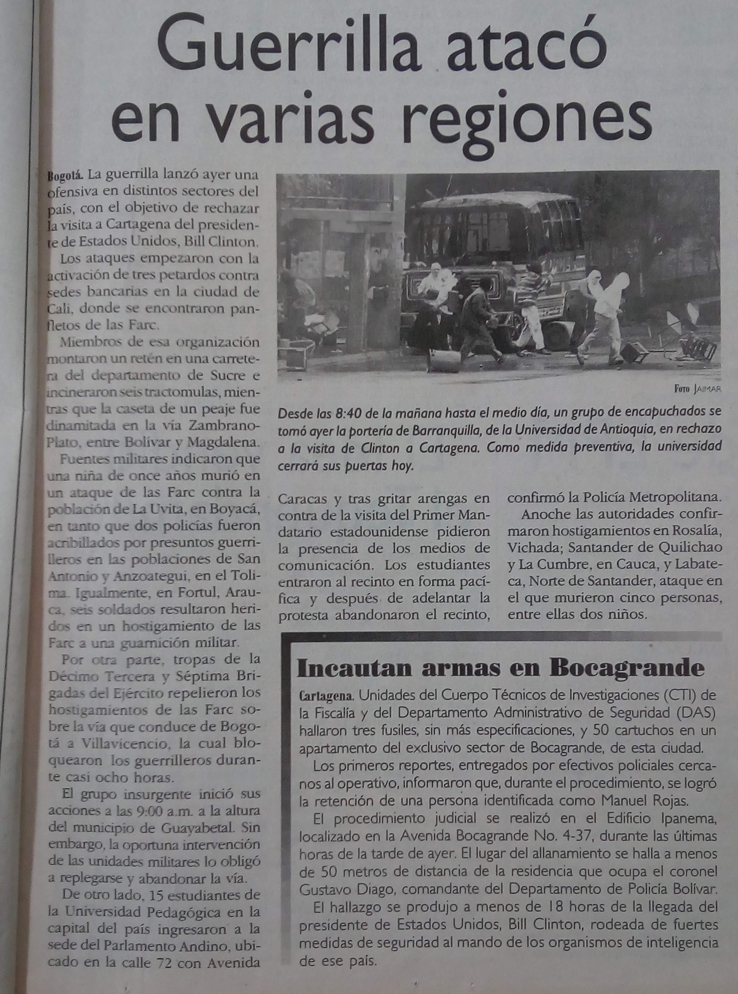 Fotografía tomada de la edición del 30 de agosto del 2000 del periódico El Colombiano.