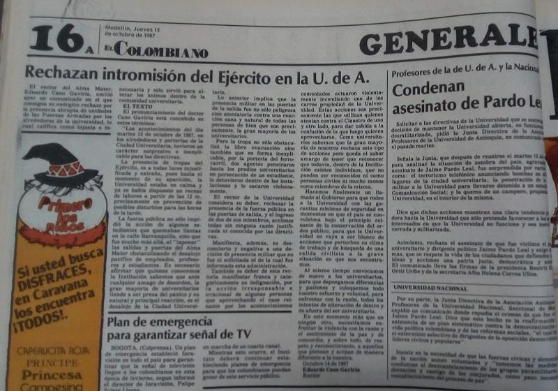 Fotografía tomada de la edición del 15 de octubre de 1987 del periódico El Colombiano.