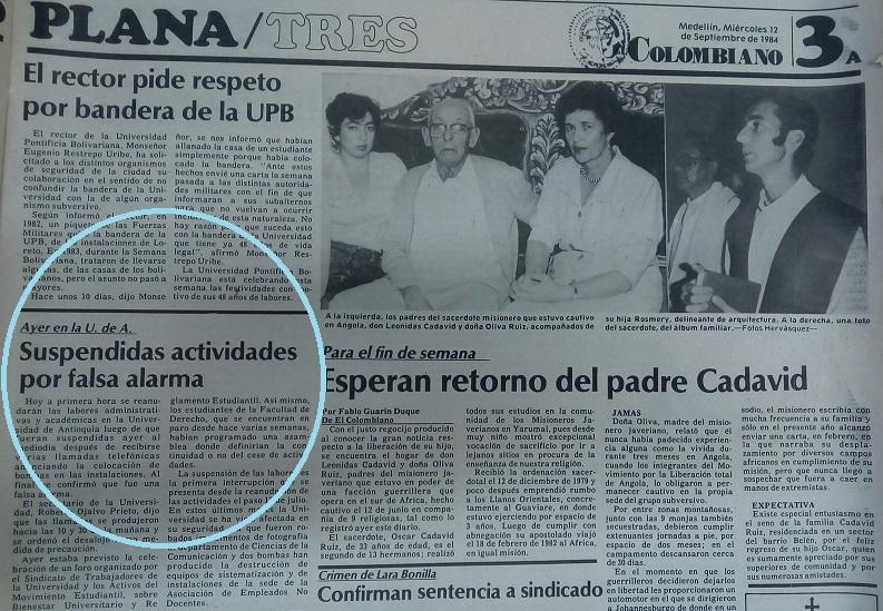 Fotografía tomada de la edición del 12 de septiembre 1984 del periódico El Colombiano.