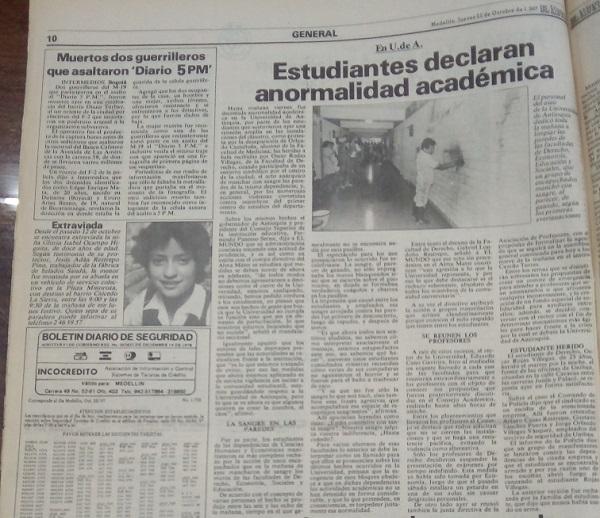 Fotografía tomada de la edición del 22 de octubre de 1987 del periódico El Mundo.