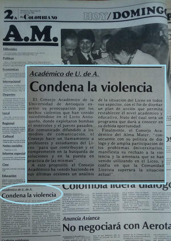 Fotografía tomada de la edición del 29 de julio de 1984 periódico El Colombiano