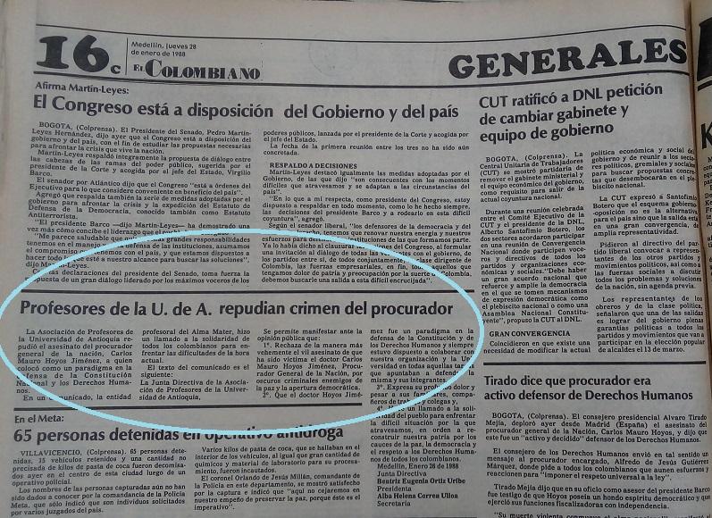 Fotografía tomada de la edición del 28 de enero de 1988 del periódico El Colombiano.