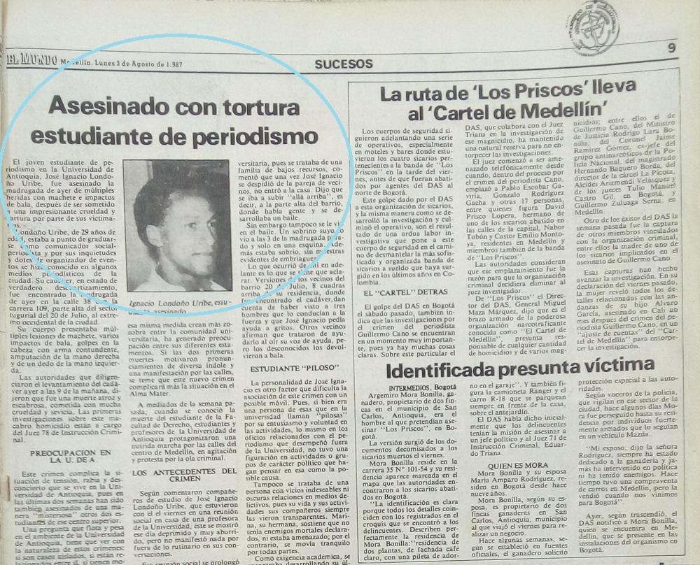 Fotografía tomada de la edición del 3 de agosto de 1987 del periódico El Mundo.