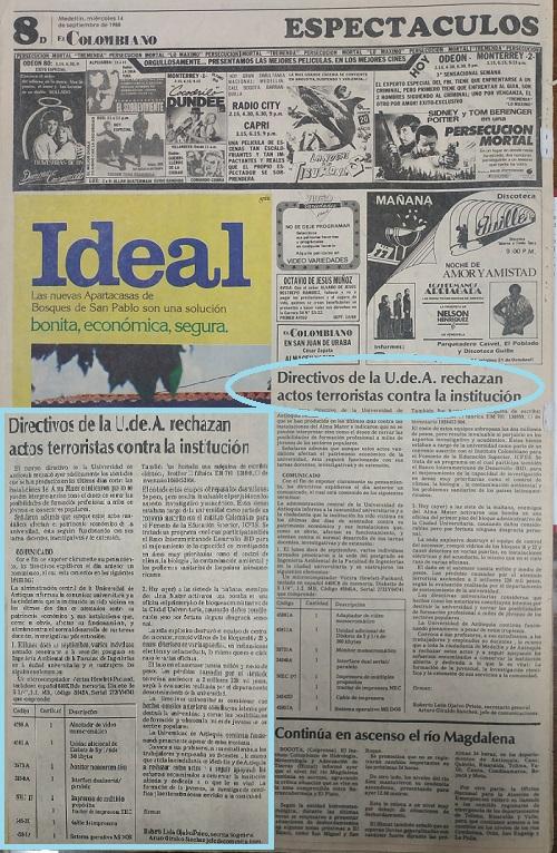 Fotografías tomadas de la edición del 14 de septiembre de 1988 del periódico El Colombiano y el periódico El Mundo