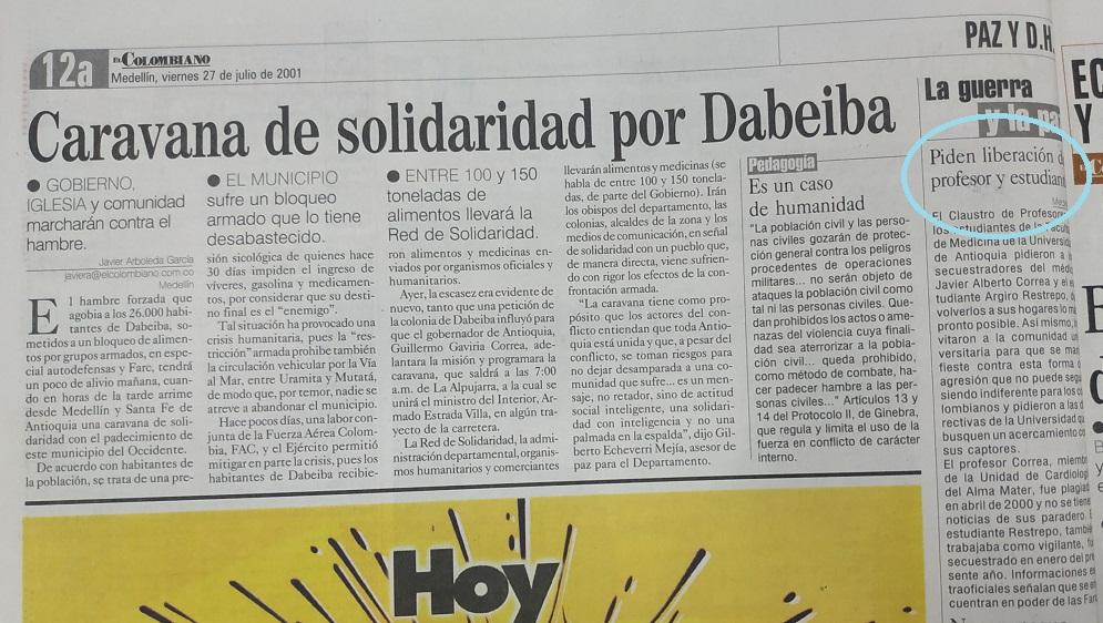 Fotografía tomada de la edición del 27 de julio del 2001 del periódico El Colombiano.
