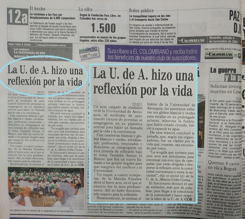 Fotografía tomada de la edición del 2 de noviembre de 2002 del periódico El Colombiano.