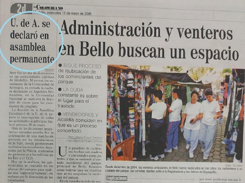 Fotografía tomada de la edición del 11 de mayo de 2005 de El Colombiano .