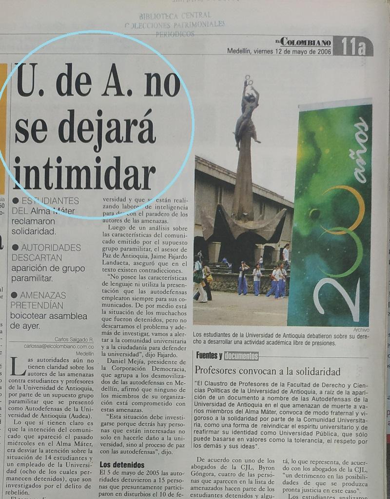 Fotografía tomada de la edición del 12 de mayo del 2006 del periódico El Colombiano.