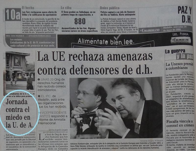 Fotografía tomada de la edición del 24 de mayo del periódico El Colombiano.