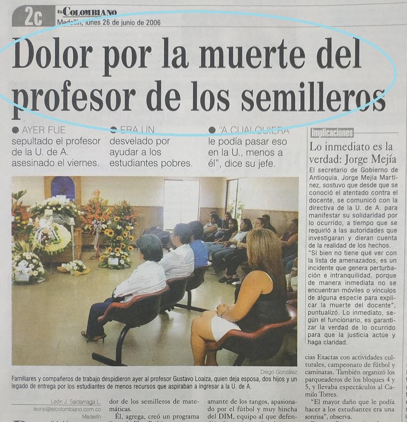 Fotografía tomada de la edición del 26 de junio de 2006 de El Colombiano.
