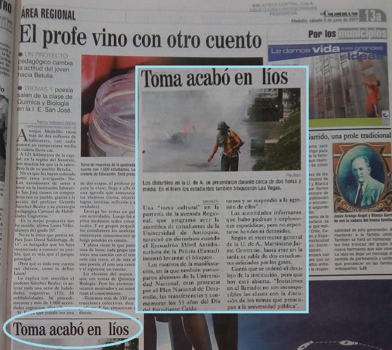 Fotografía tomada de la edición del 9 de junio de 2007 del periódico El Colombiano.