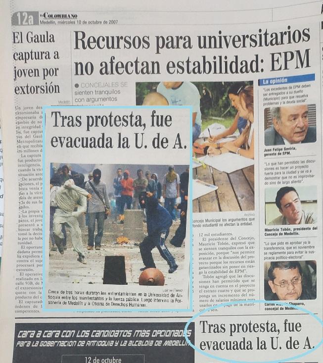 Fotografía tomada de la edición del 10 de octubre de 2007 del periódico El Colombiano.