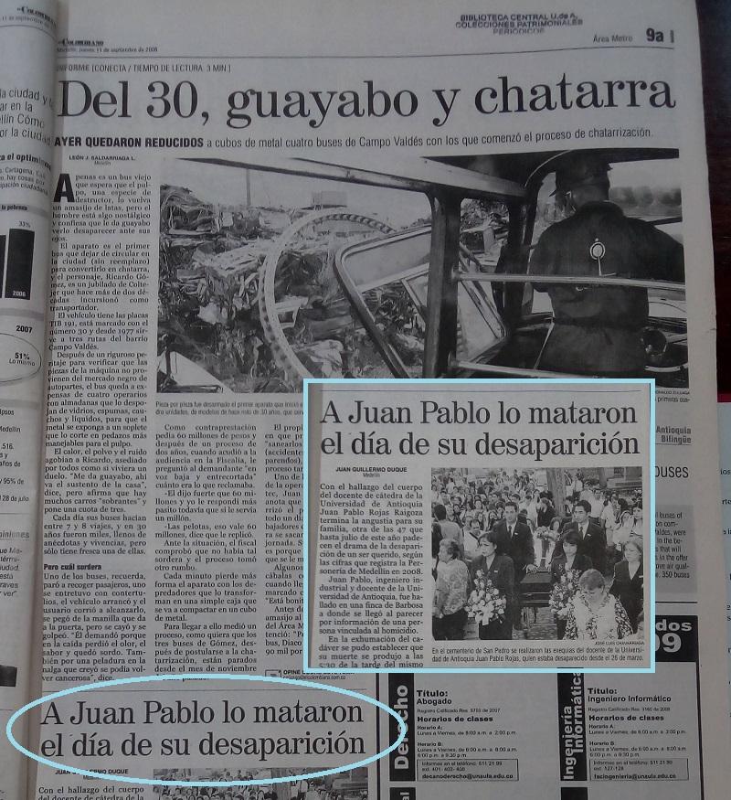 Fotografía tomada de la edición del 11 de septembre del 2008 del periódico El Colombiano.