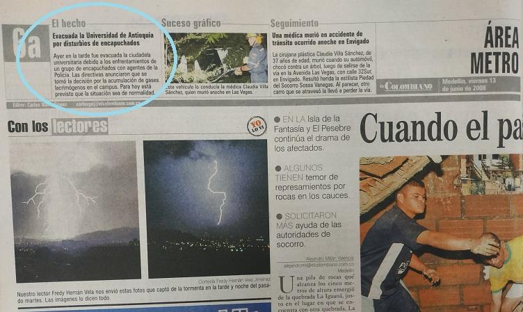 Fotografía tomada de la edición del 13 de junio del 2008 del periódico El Colombiano.