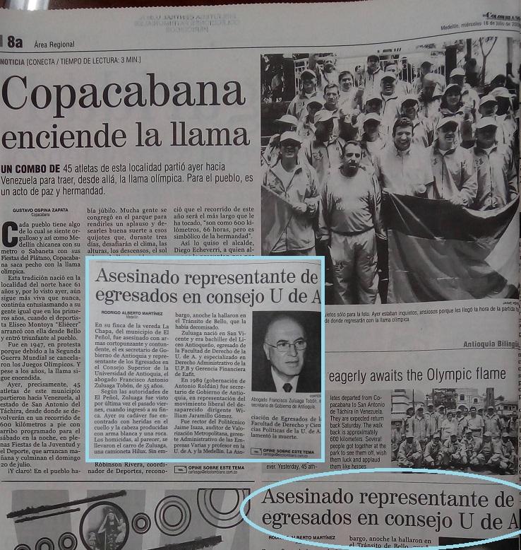 Fotografía tomada de la edición del 16 de julio del 2008 del periódico El Colombiano.