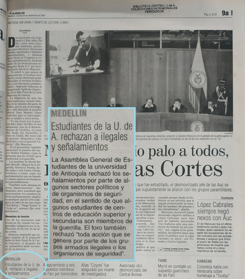 Fotografía tomada de la edición del 26 de septiembre del 2008 del periódico El Colombiano.