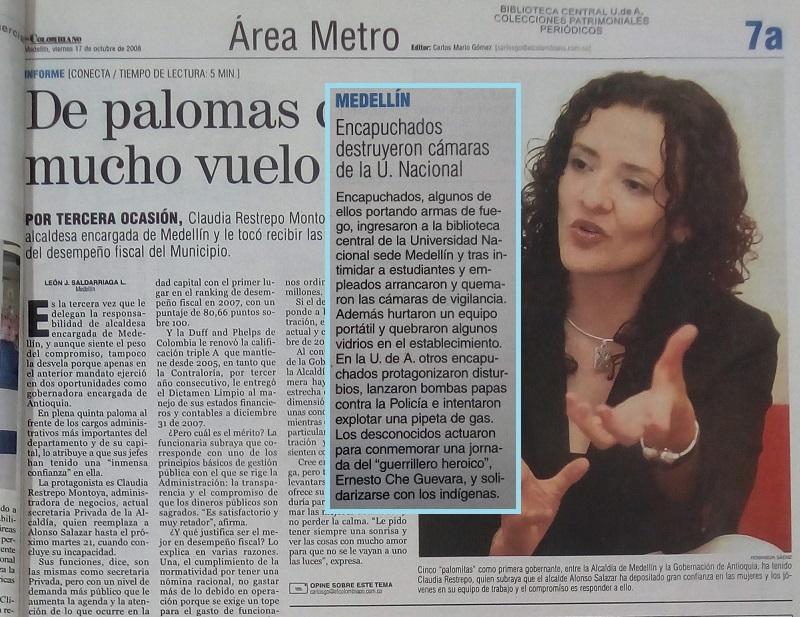 Fotografía tomada de la edición del 17 de octubre del 2008 del periódico El Colombiano.