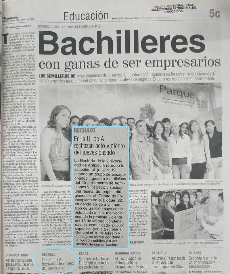 Fotografía tomada de la edición del 24 de febrero de 2009 del periódico El Colombiano.