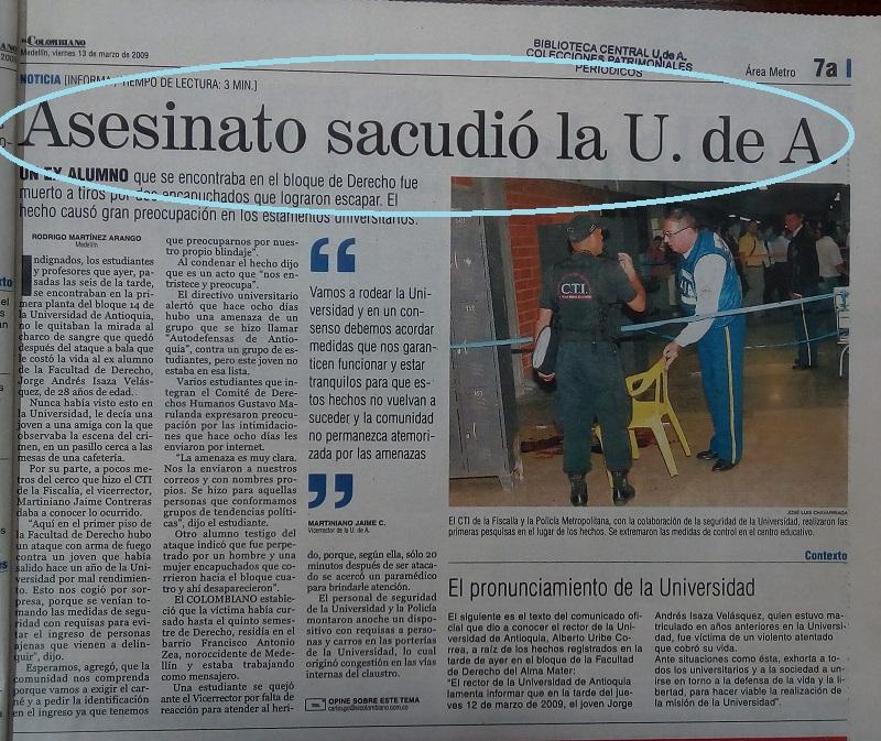 Fotografía tomada de la edición del 13 de marzo del 2009 del periódico El Colombiano.