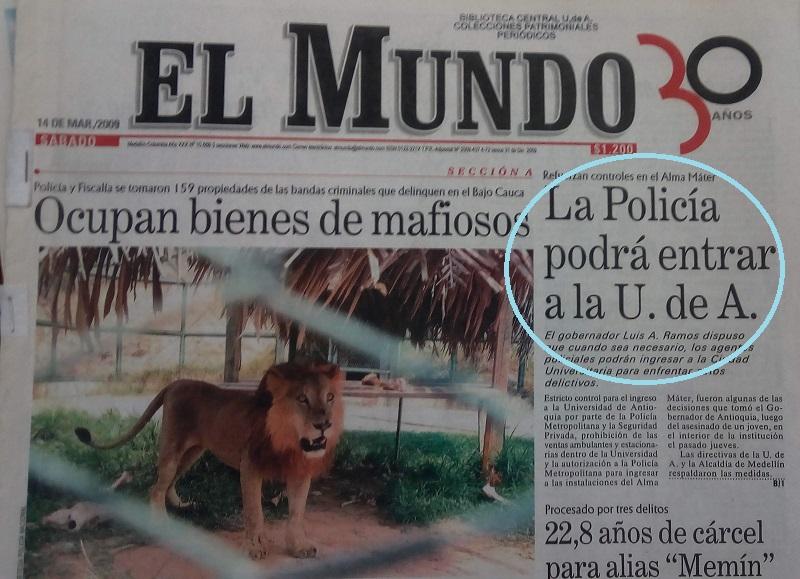 Fotografía tomada de la edición del 14 de marzo del 2009 del periódico El Mundo.