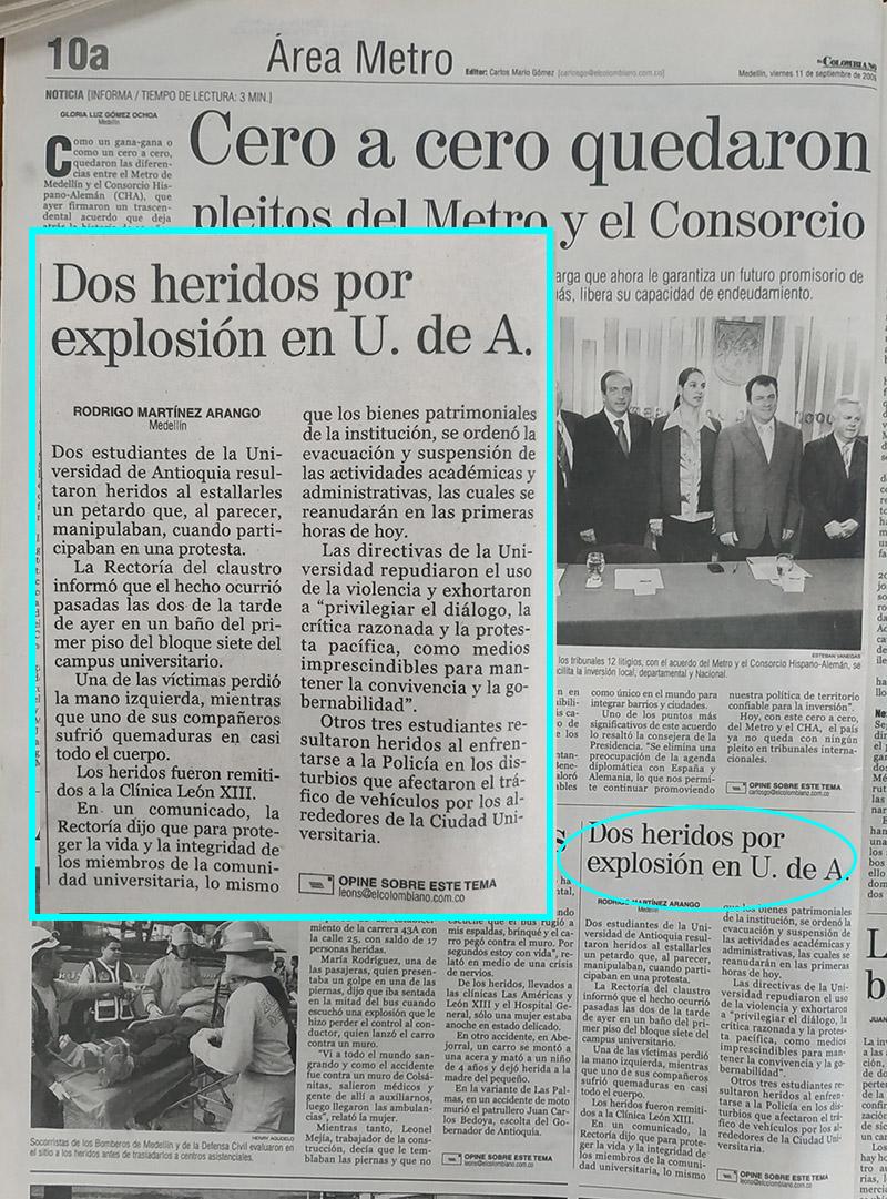 Fotografía tomada de la edición del 11 de septiembre del 2009 del periódico El Colombiano