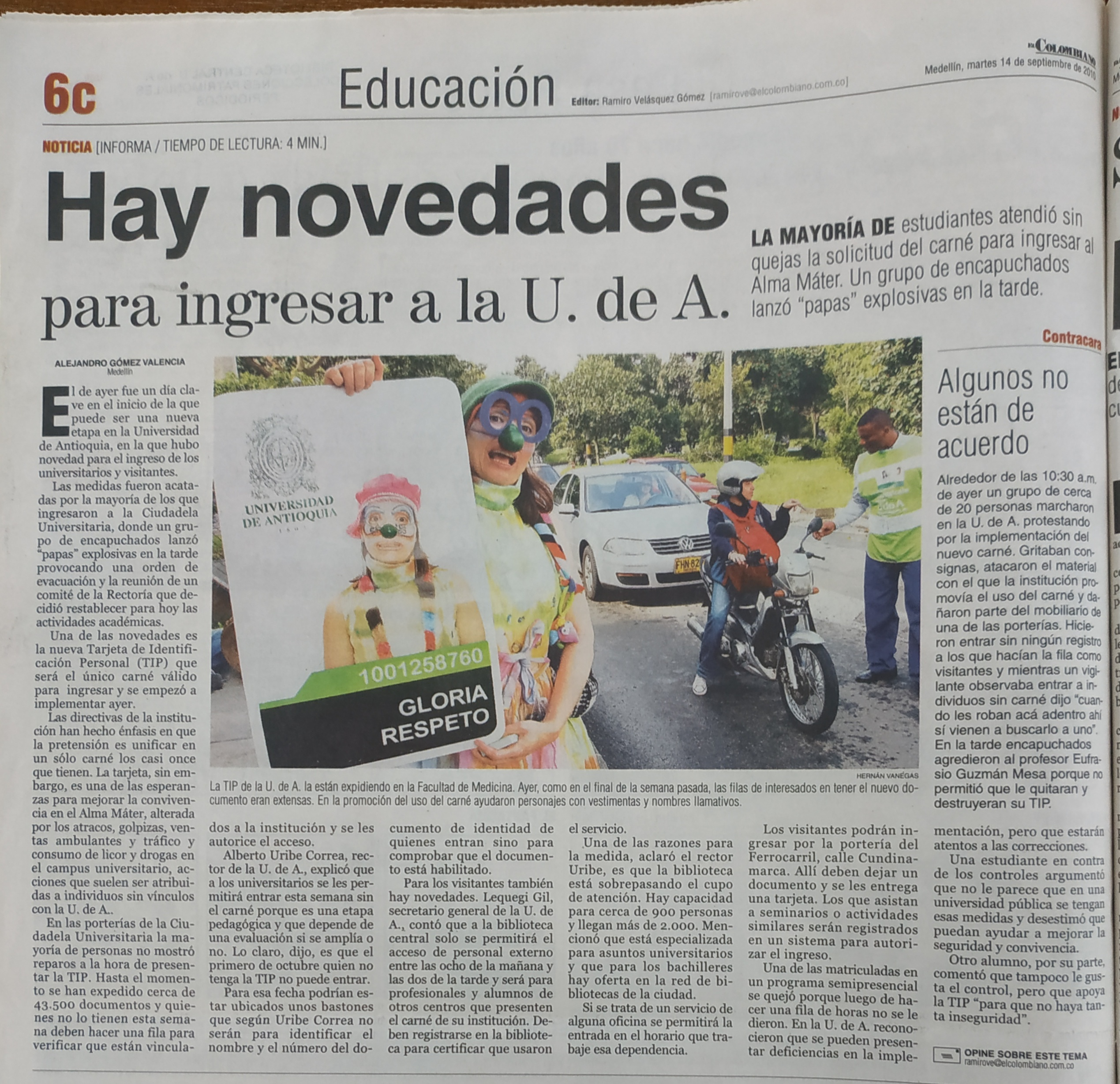 Fotografía tomada de la edición del 14 de septiembre de 2010 del periódico El Colombiano
