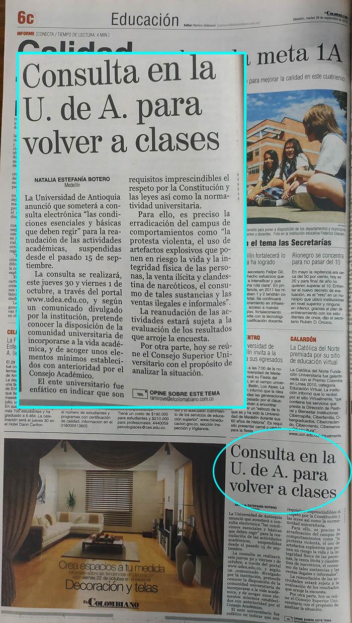 Fotografía tomada de la edición del 18 de septiembre de 2010 del periódico El Colombiano