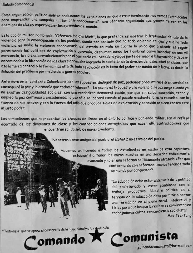 Foto: Panfleto repartido durante los disturbios del 18 de septiembre entregado por el Comando Comunista. Foto tomada del Facebook del colectivo estudiantil Desde el 12..