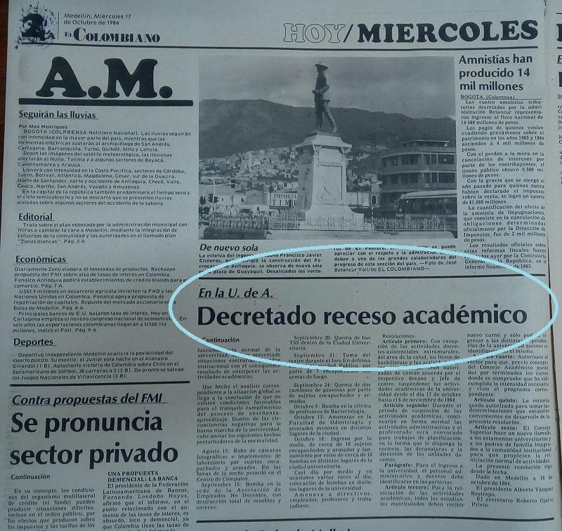 Fotografía tomada de la edición del 17 de octubre de 1984 del periódico El Colombiano.