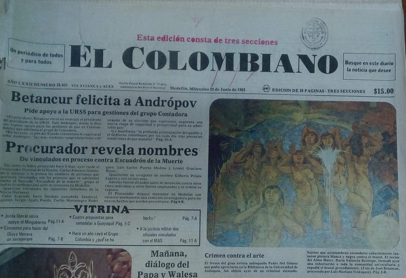 Fotografía tomada de la edición del 22 de junio de 1983 del periódico El Colombiano.