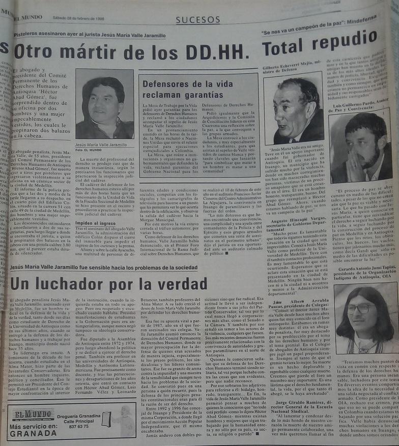 Fotografía tomada de la edición del 28 de febrero de 1998 del periódico El Mundo.
