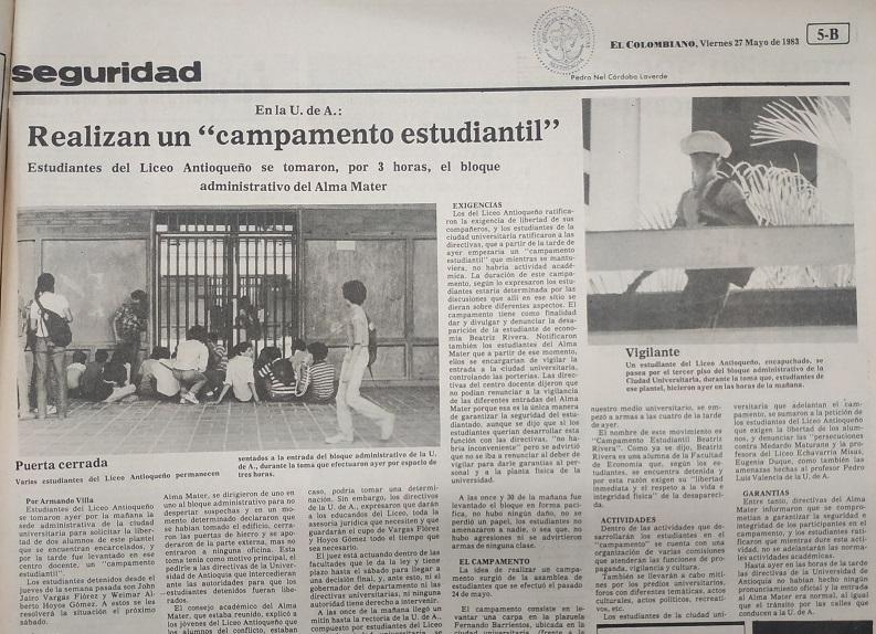 Fotografía tomada de la edición del 27 de mayo de 1983 del periódico El Colombiano.