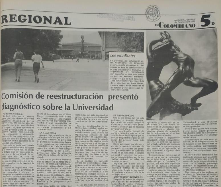 Fotografía tomada de la edición del 6 de febrero de 1986 del periódico El Colombiano.