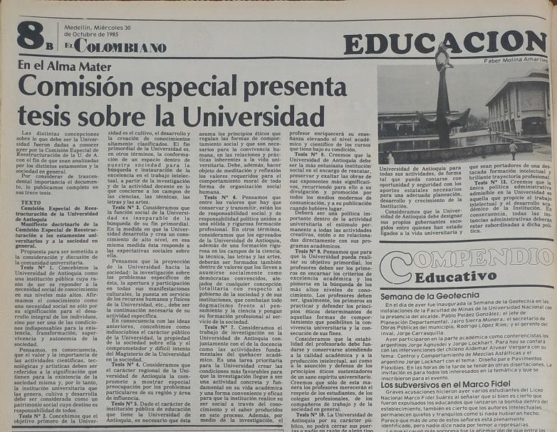 Fotografía tomada de la edición del 30 de octubre de 1985 del periódico El Colombiano.