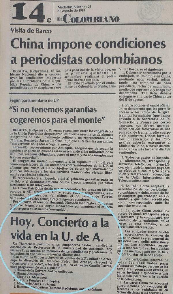 Fotografía tomada de la edición del 21 deagosto de 1987 del periódico El Colombiano.