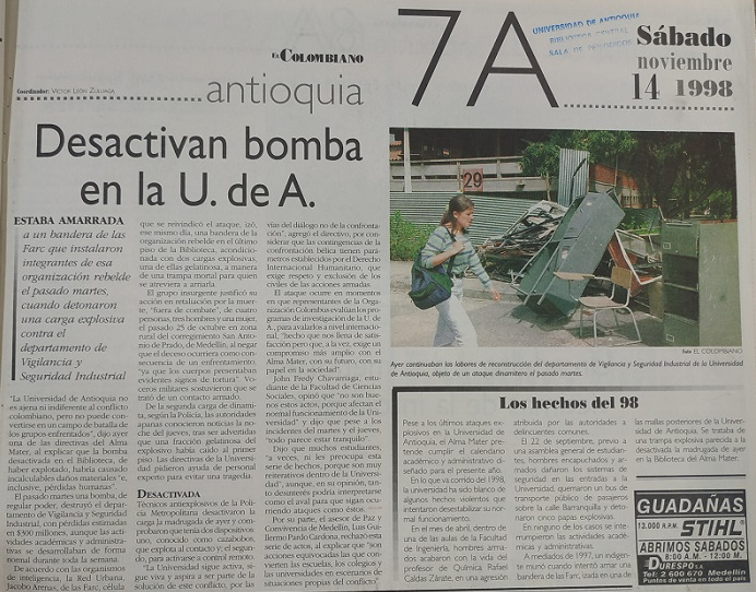Fotografía tomada de la edición del 14 de noviembre de 1998 del periódico El Colombiano.