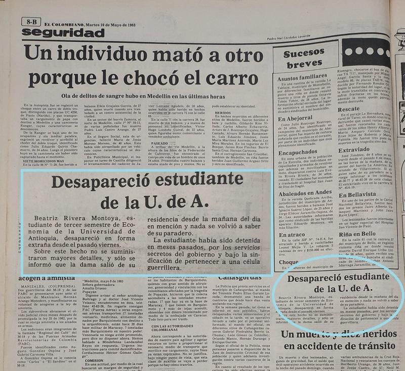 Fotografía tomada de la edición del 10 de mayo de 1983 del periódico El Colombiano.