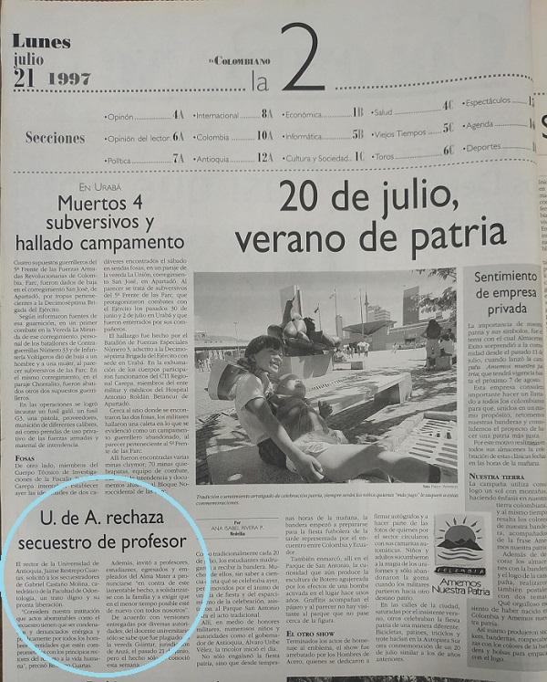 Fotografía tomada de la edición del 21 de julio de 1997 del periódico El Colombiano.