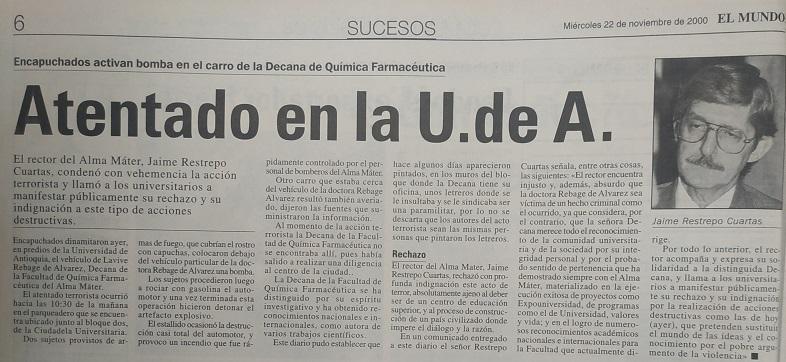 Fotografía tomada de la edición del 22 de noviembre del 2000 del periódico El Mundo.