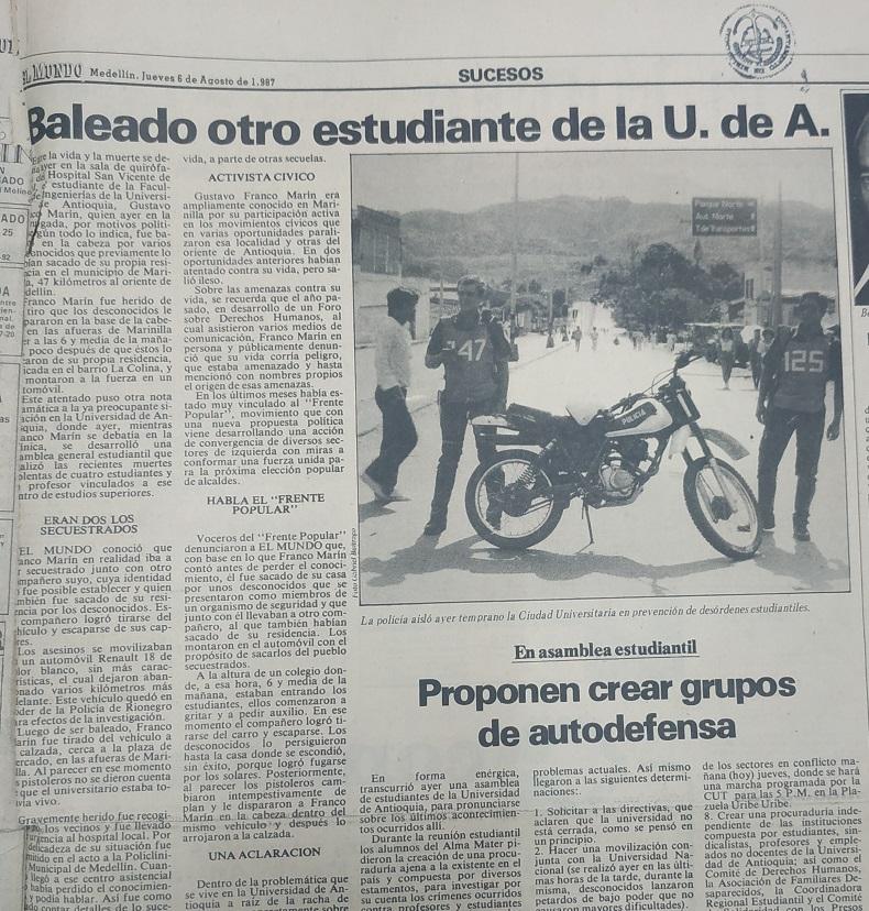 Fotografía tomada de la edición del 6 de agosto de 1987 del periódico El Mundo.