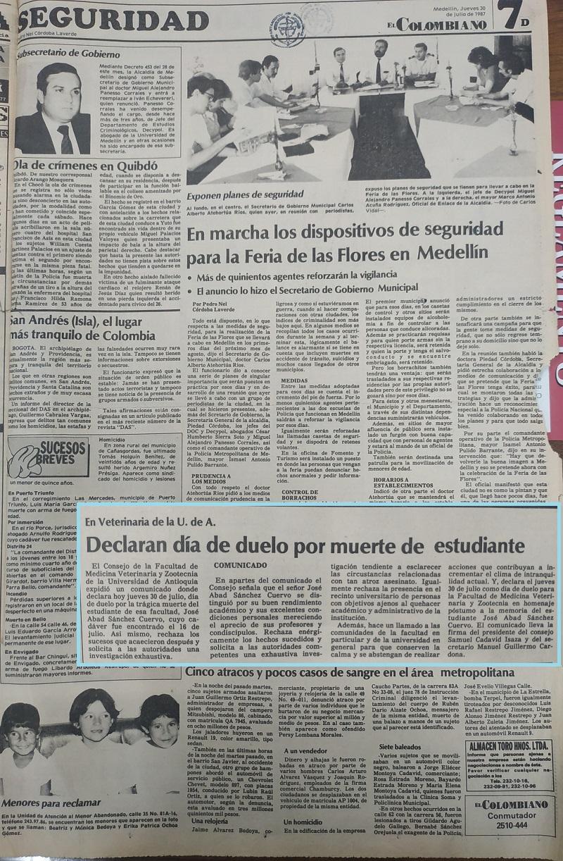 Fotografía tomada de la edición del 30 de julio de 1987 del periódico El Colombiano.