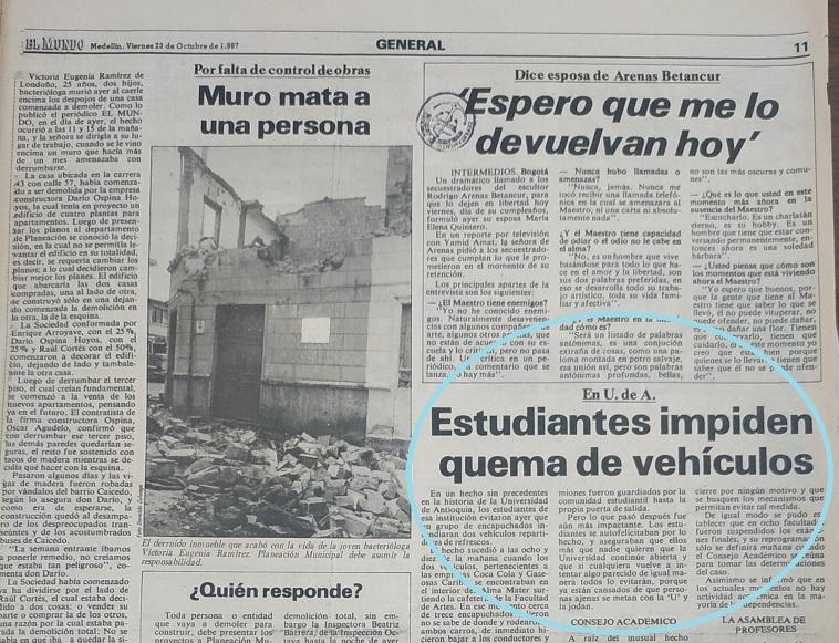 Fotografía tomada de la edición del 23 de octubre 1987 del periódico El Mundo.
