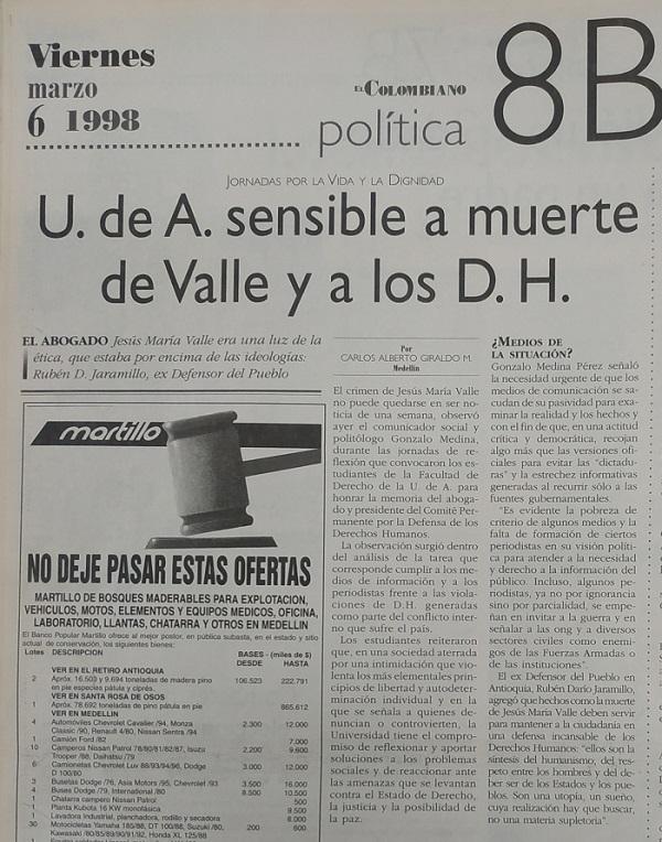 Fotografía tomada de la edición del 6 de marzo de 1998 del periódico El Colombiano.