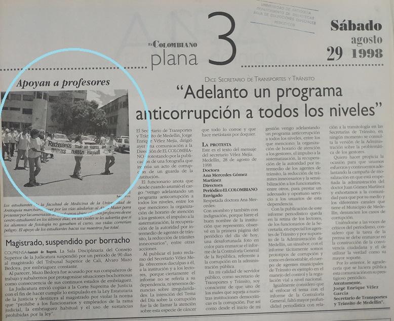 Fotografía tomada de la edición del 29 de agosto de 1998 del periódico El Colombiano.