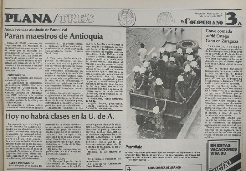 Fotografía tomada de la edición del 14 octubre de 1987 del periódico El Colombiano.