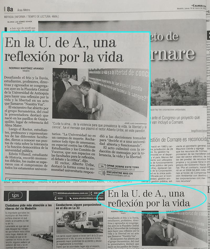 Fotografía tomada de la edición del 19 de marzo del 2009 del periódico El Colombiano